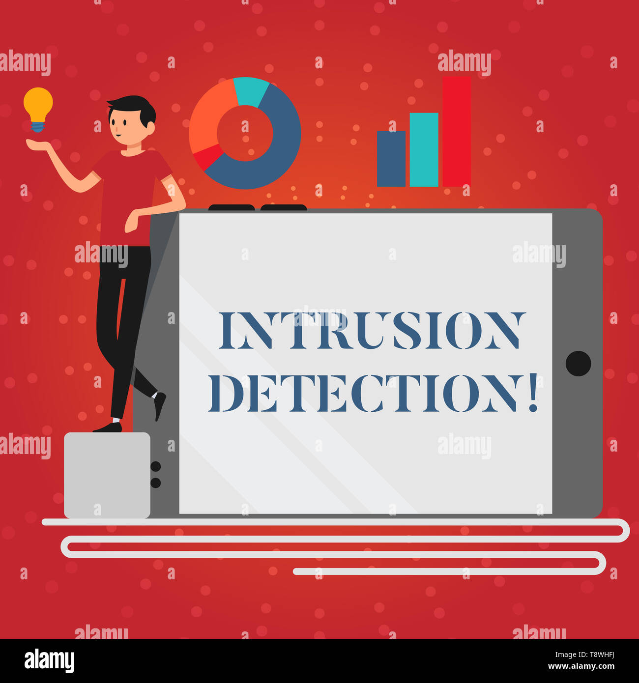Writing note showing Intrusion Detection. Business concept for monitors a network or systems for malicious activity Man Leaning on Smartphone Turned o - Stock Image