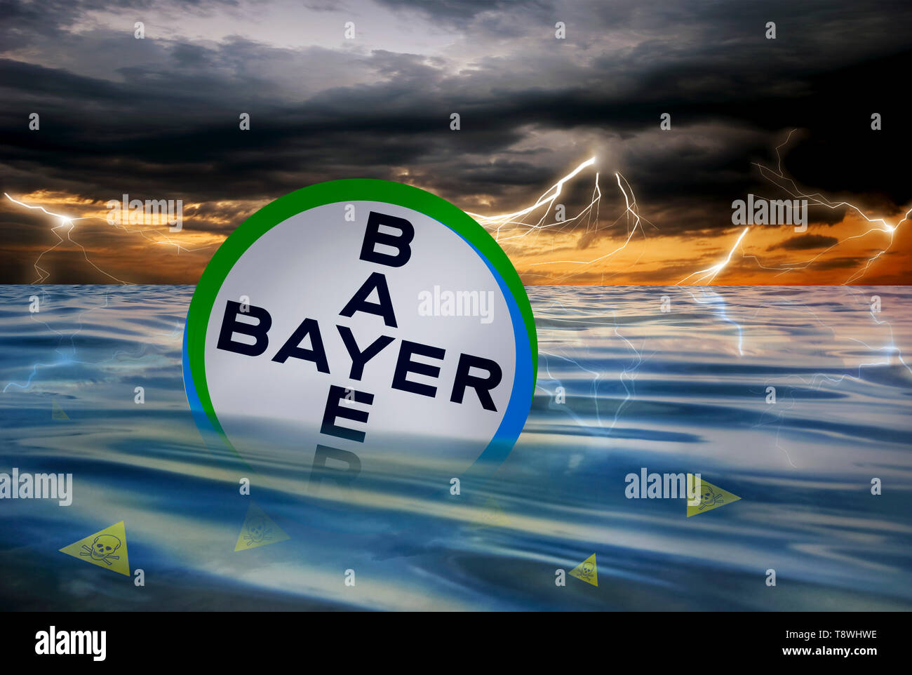 Crisis of the German company Bayer AG after the acquisition of the glyphosate producer Monsanto - Stock Image