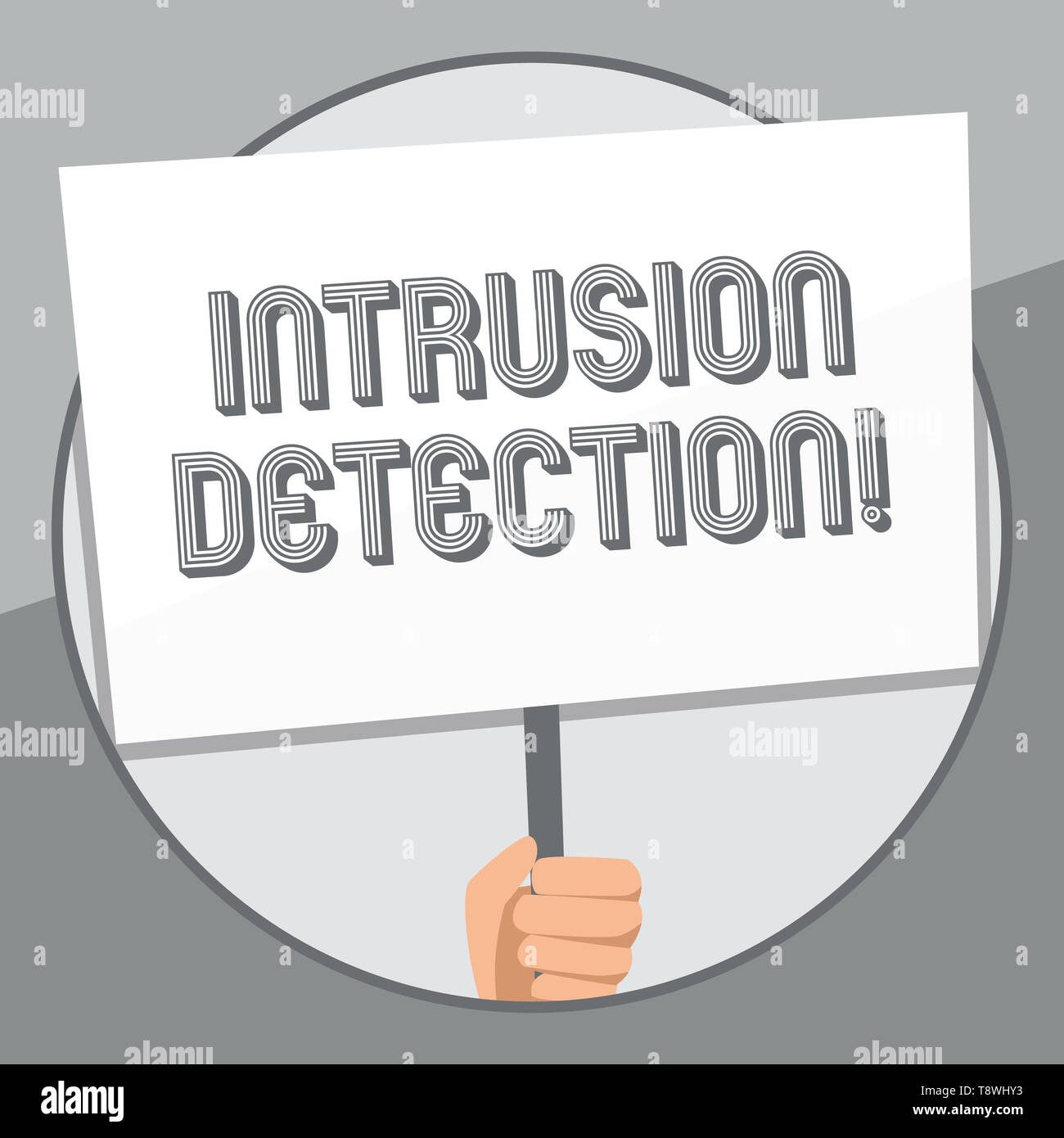 Word writing text Intrusion Detection. Business photo showcasing monitors a network or systems for malicious activity Hand Holding Blank White Placard - Stock Image