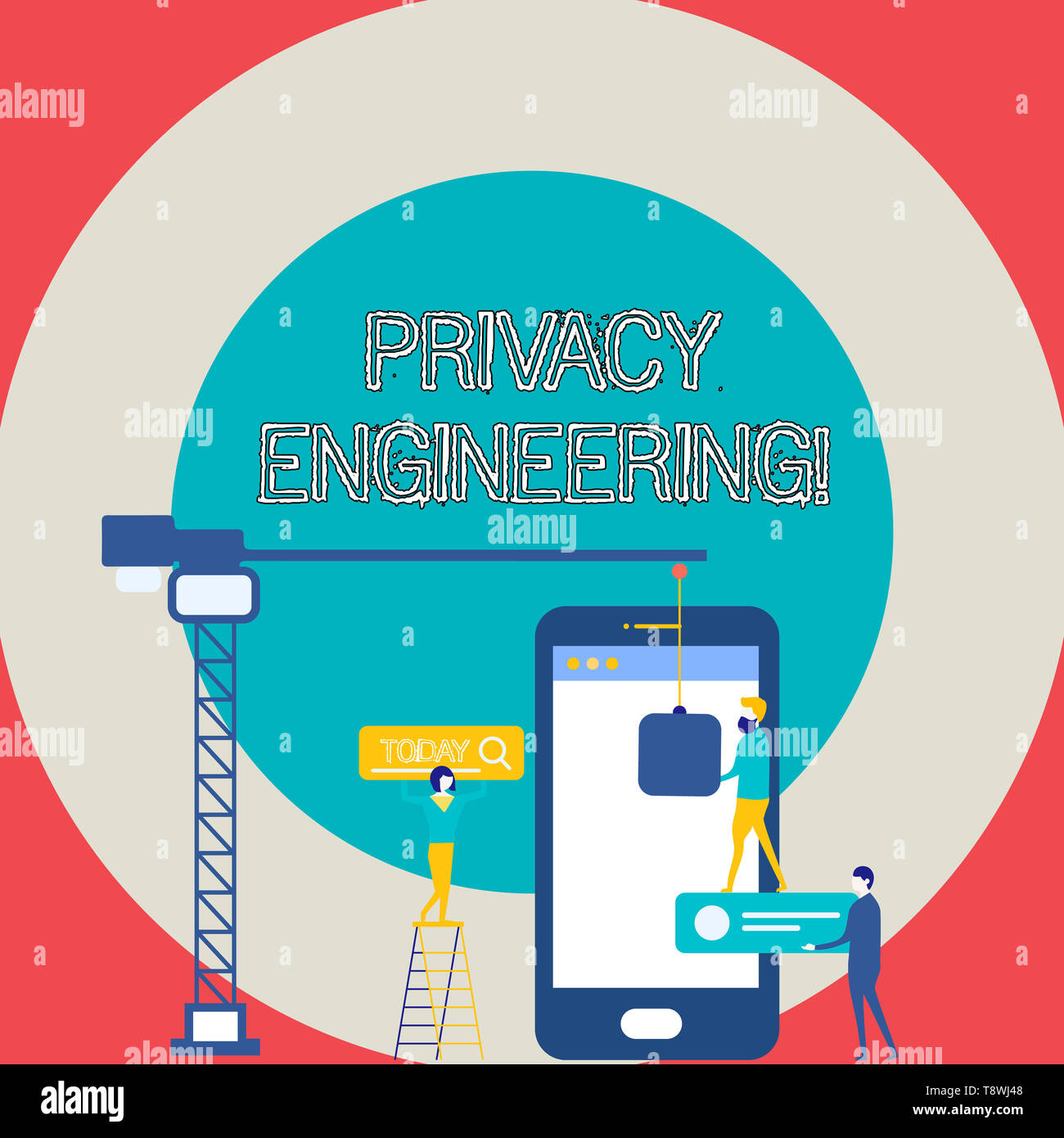 Conceptual hand writing showing Privacy Engineering. Concept meaning engineered systems provide acceptable levels of privacy Staff Working Together fo - Stock Image