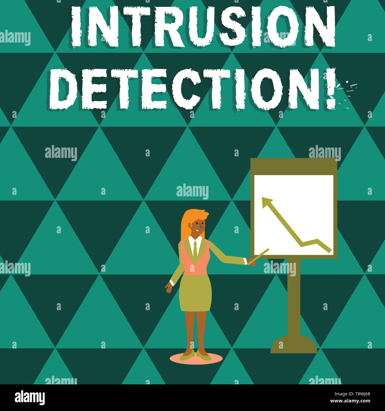 Writing note showing Intrusion Detection. Business concept for monitors a network or systems for malicious activity Woman Holding Stick Pointing to Ch - Stock Image