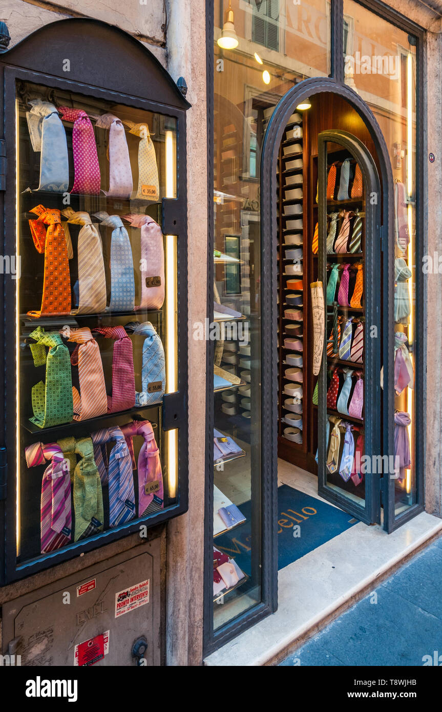 ROME, ITALY - SEPTEMBER 4, 2010: Colorful ties are on display at the entrance of the men's fashion store Marcello in the Via dei Condotti in Rome on s - Stock Image