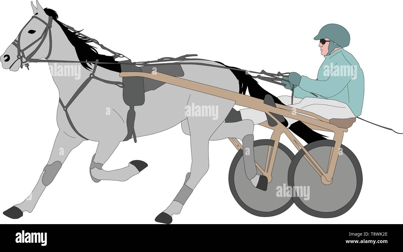 horse and jockey harness racing color illustration - vector Stock Vector