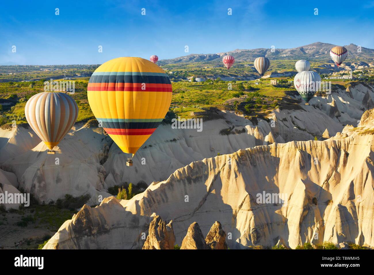 Cappadocia - Turkey, view from the balloon around Nevsehir, flying over Cappadocia in Hot-air balloon, UNESCO - Stock Image