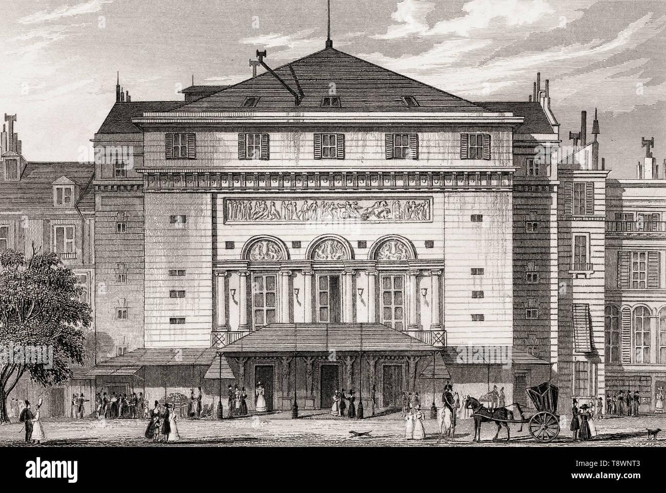 Théâtre de la Porte Saint-Martin, Paris, antique steel engraved print, 1831 - Stock Image