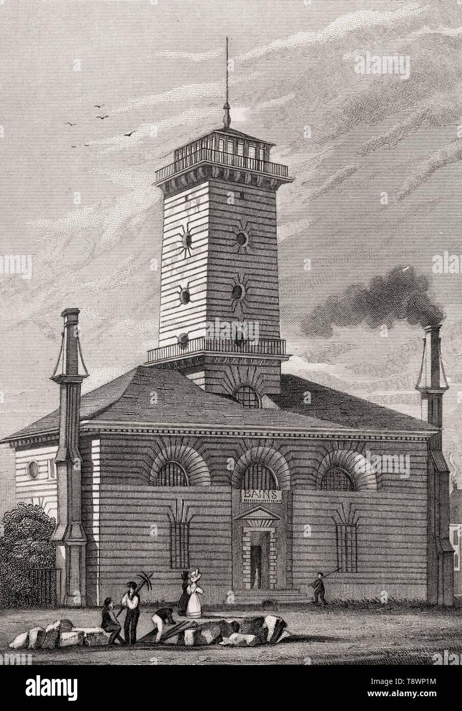 La pompe à feu du Gros-Caillou, Paris, antique steel engraved print, 1831 Stock Photo