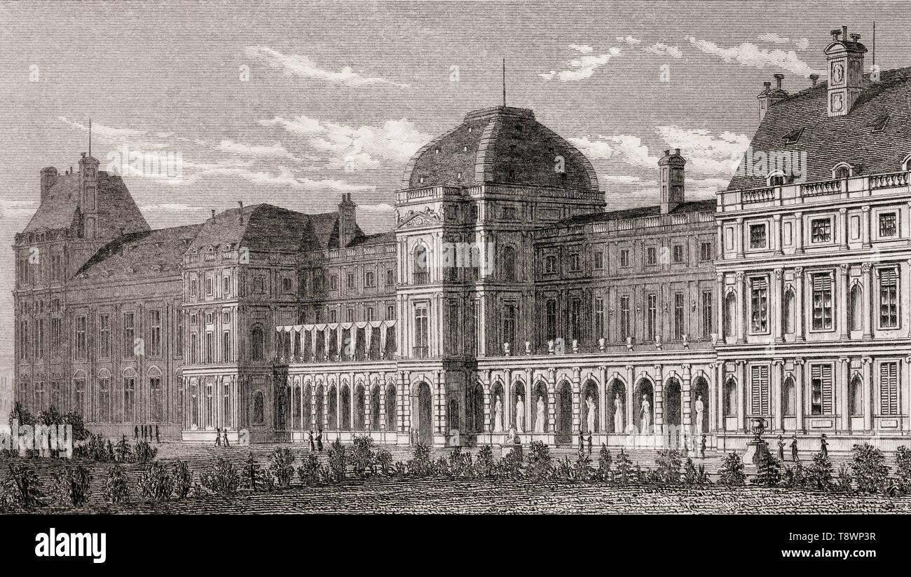 Tuileries Palace, Paris, antique steel engraved print, 1831 - Stock Image