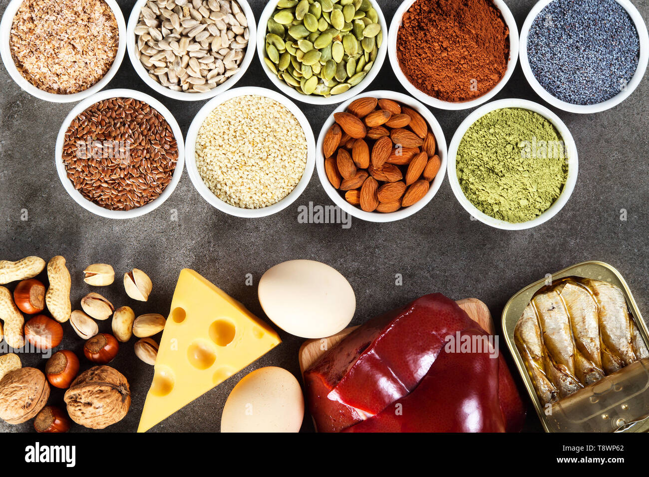 Organic phosphorus sources. Foods highest in phosphorus - Stock Image
