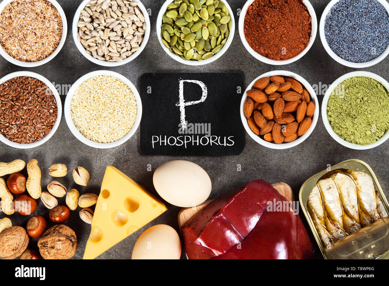 Organic phosphorus sources. Foods highest in phosphorus. - Stock Image