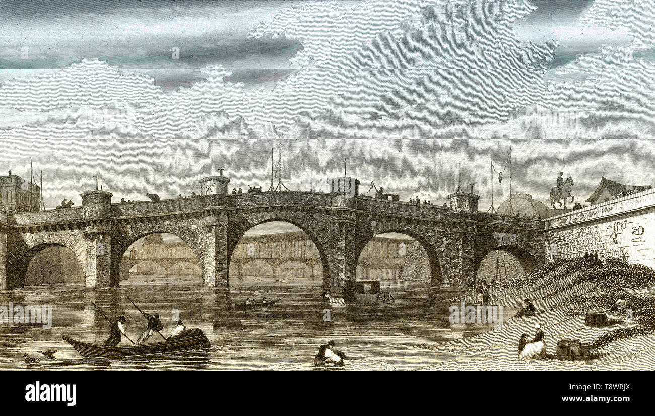 Pont Neuf, Paris, antique steel engraved print, 1831 - Stock Image