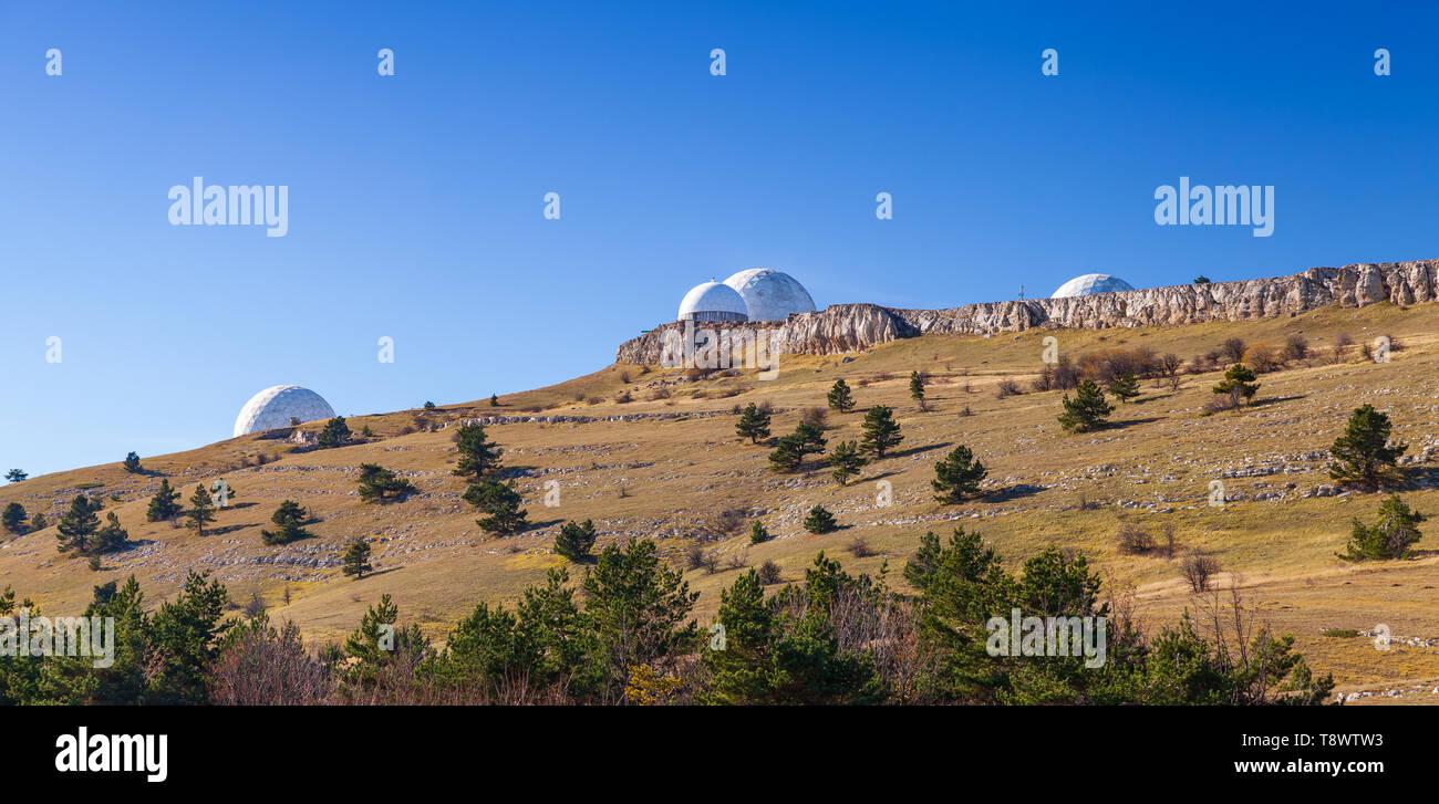 Radar station on the mountain Bedene-Kyr in Crimea at sunny day