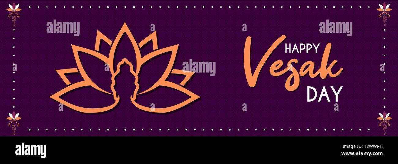 Happy Vesak Day Web Banner Illustration For Buddhism Birth