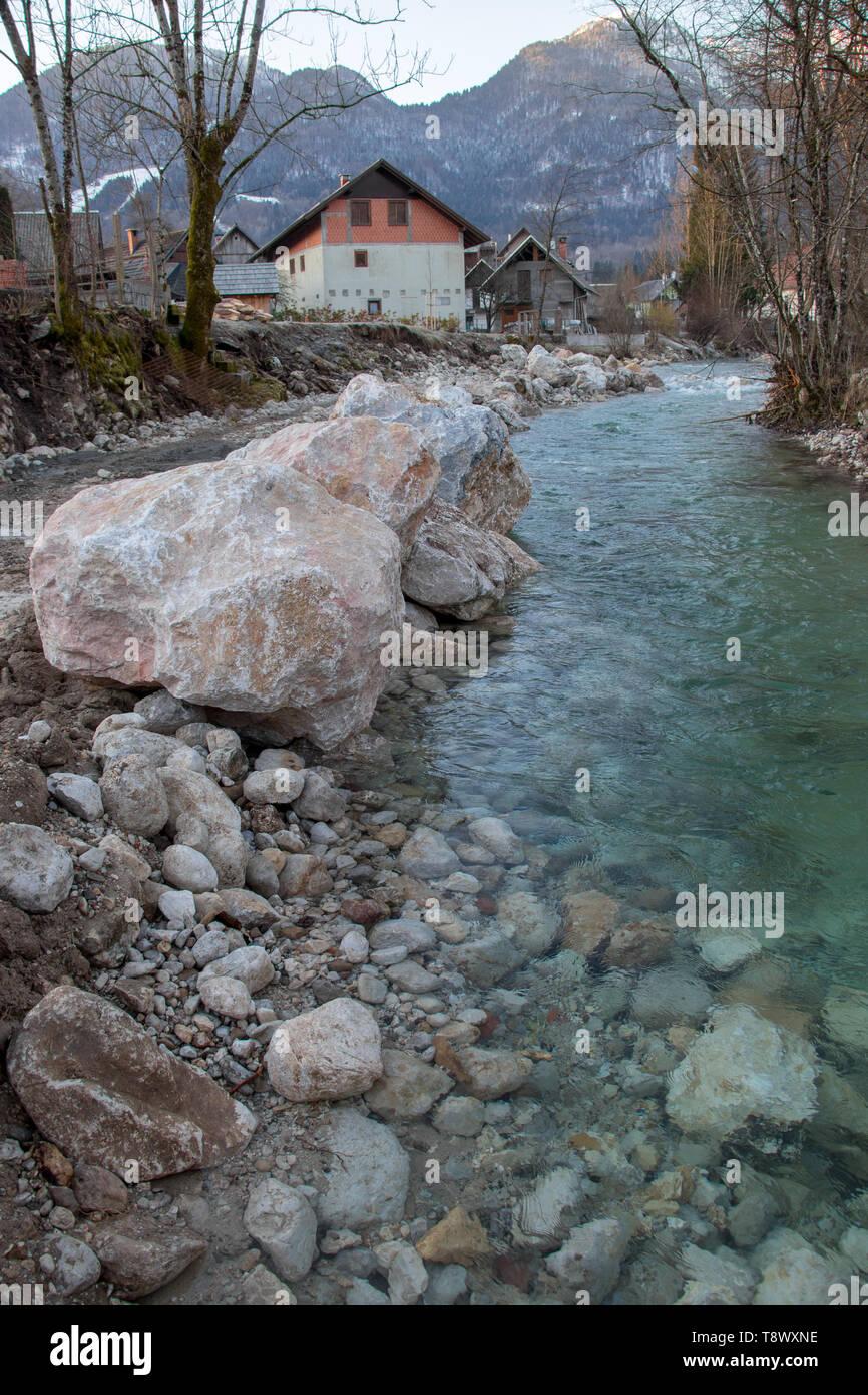 big rocks in river - Stock Image