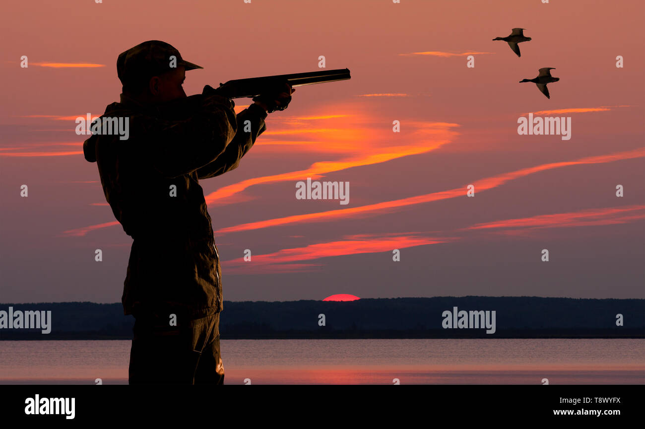 silhouette hunter at sunset background on the hunting Stock Photo