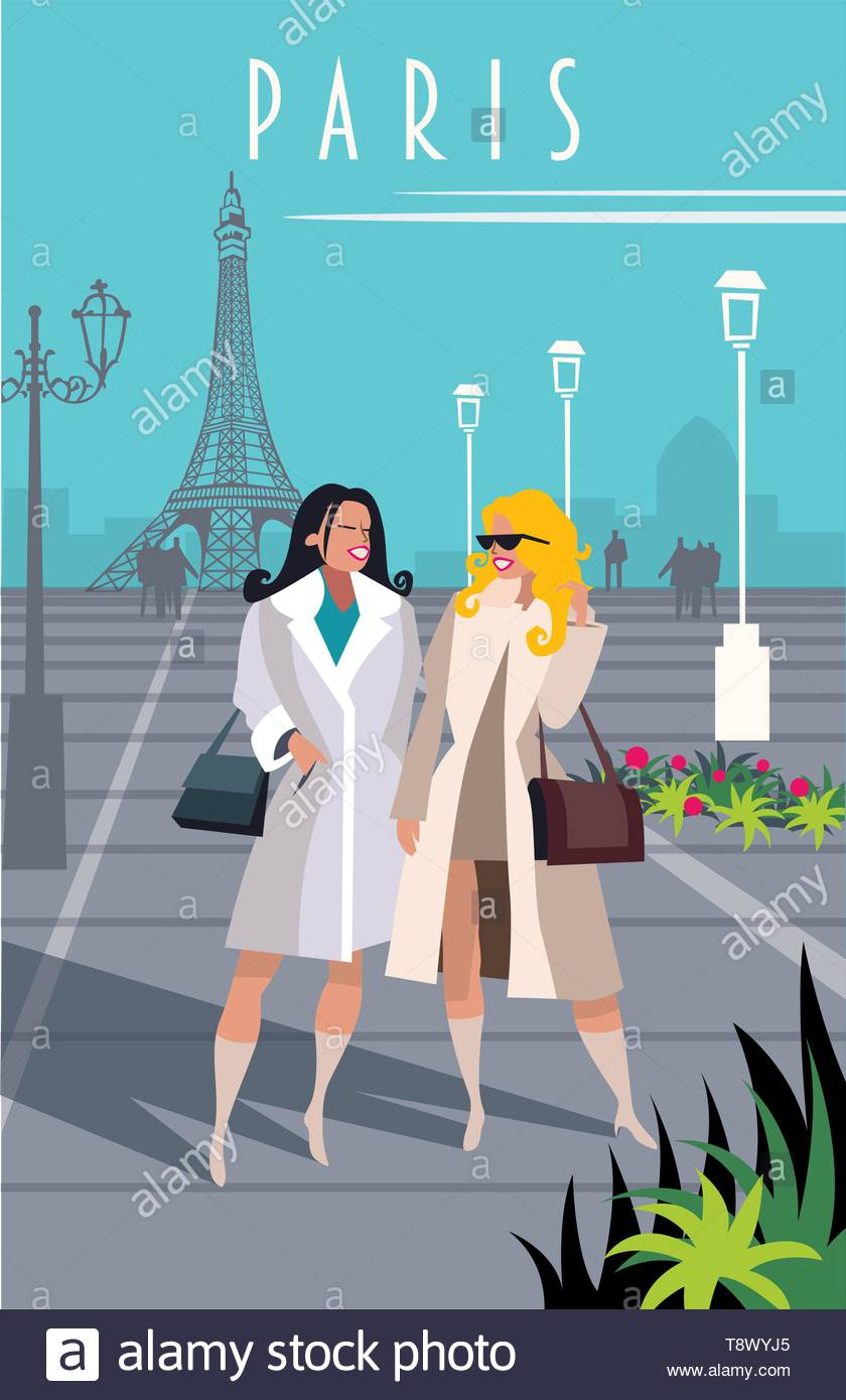 illustration of a poster depicting a destination to travel in naive style. - Stock Vector