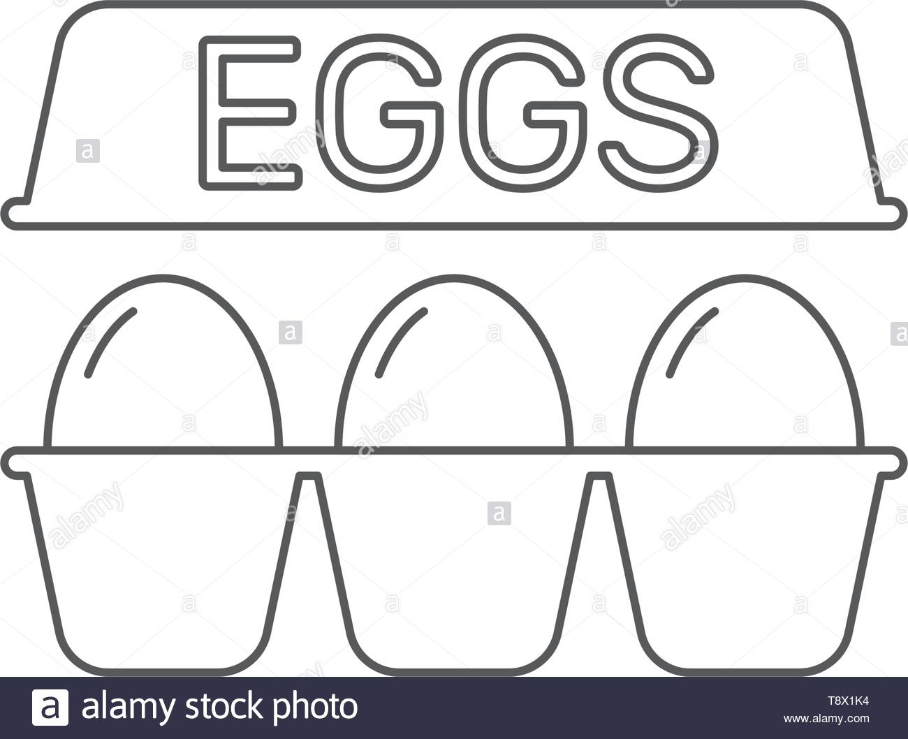 eggs in box package vector icon, isolated on white background - Stock Image