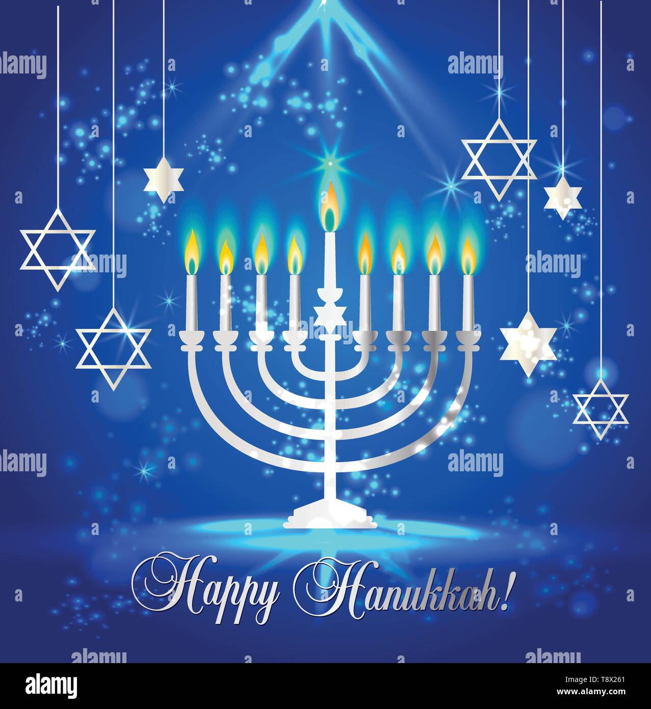 Happy Hanukkah Shining Background with Menorah, David Star and Bokeh Effect. Vector illustration on blue. - Stock Vector