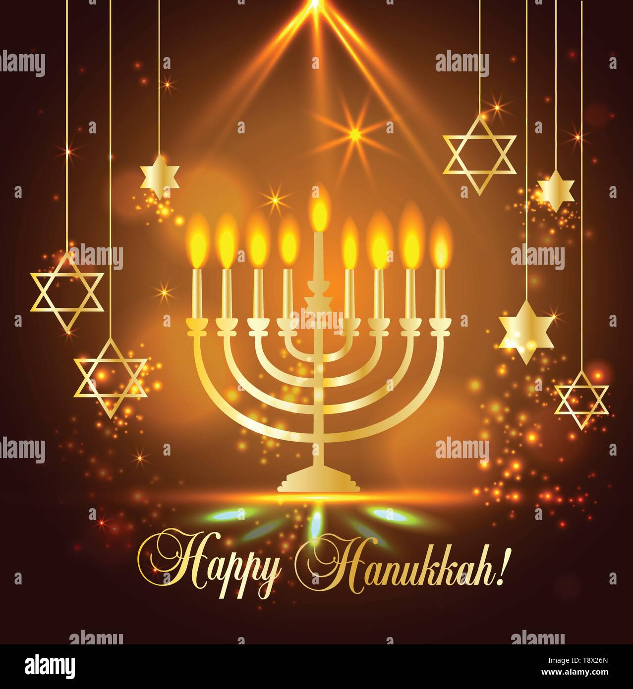Happy Hanukkah Shining Background with Menorah, David Star and Bokeh Effect. illustration on blue. - Stock Vector
