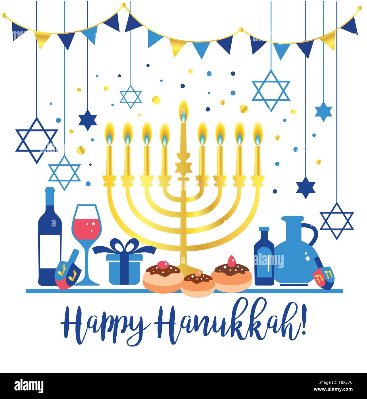Jewish holiday Hanukkah greeting card traditional Chanukah symbols - wooden dreidels spinning top , Hebrew letters, donuts, menorah candles, oil jar - Stock Vector