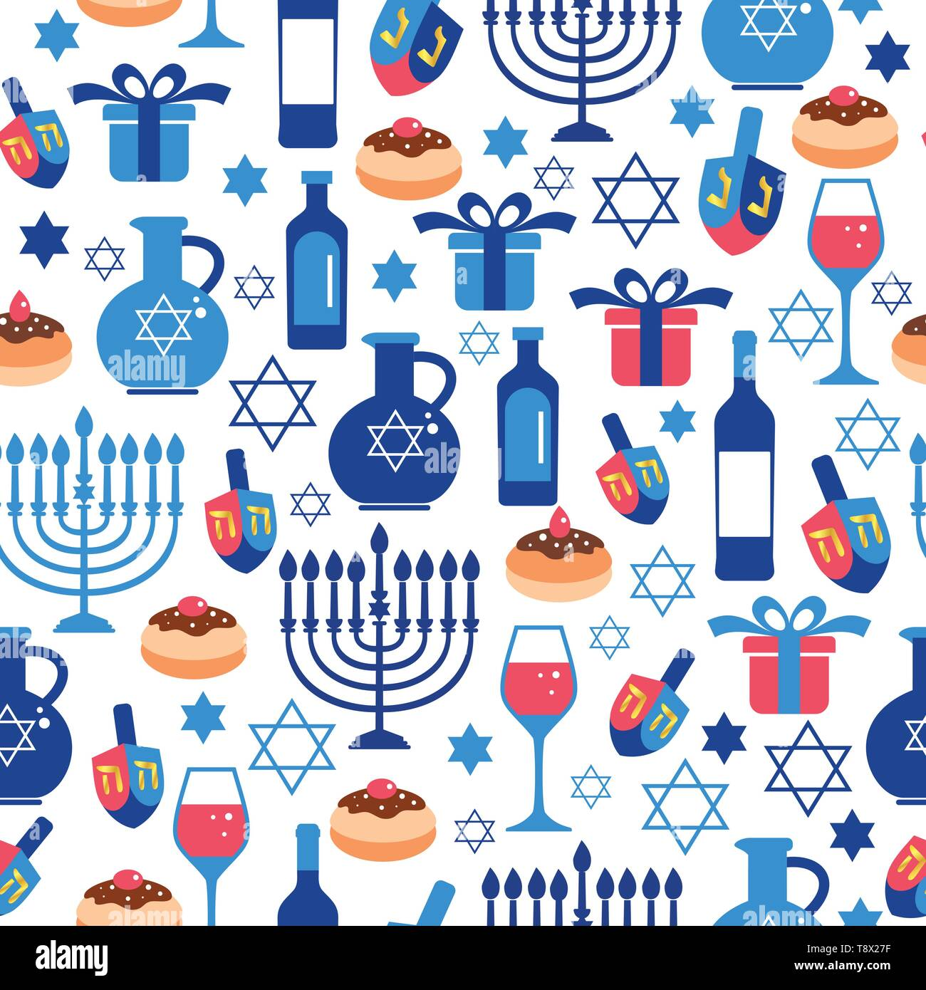 Jewish holiday Hanukkah greeting card traditional Chanukah symbols. Seamless pattern. - Stock Vector