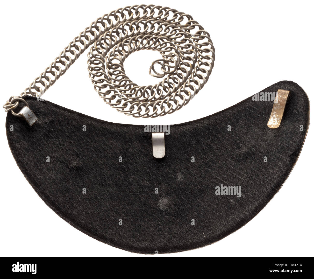 A gorget model 1936 'SS-Funkschutz' Kidney-shaped, hard nickel-plated gorget with applied, gilt bandeau 'SS-Funkschutz' in block lettering, corner rosettes. Black liner, shortened arresting clasp, nickel chain. The SS-Funkschutz (tr. radio security) was constituted in 1935 from the SS radio guard/watch of the ten regional Reich broadcasting stations. In April 1933 in connection with the seizure of power, Goebbels became Reich Broadcast Leader, taking over all transmitters of the Reich Broadcast Association and coordinating them with the Reich broadcasting scheme. It was a p, Editorial-Use-Only - Stock Image