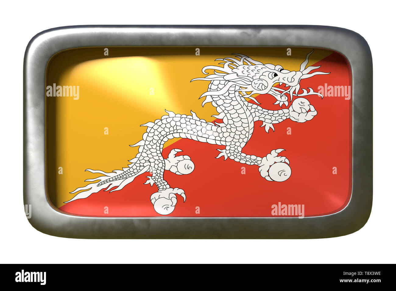3d rendering of a Bhutan flag on a rusty sign isolated on white background - Stock Image