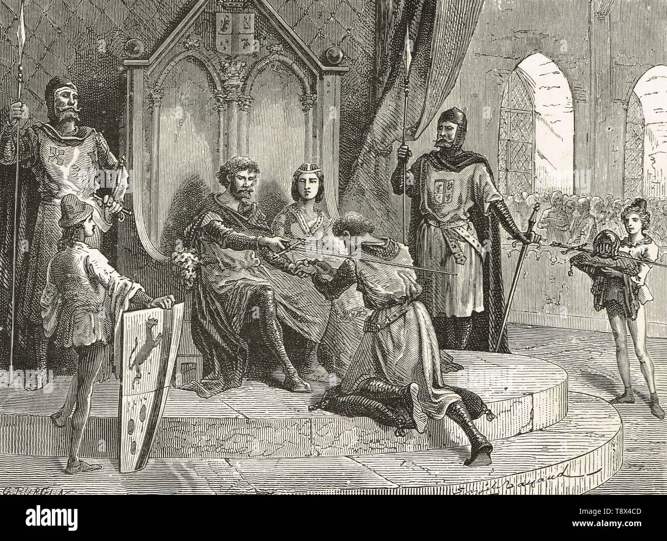 The ceremony of feudal homage in the 12th century, bending the knee - Stock Image
