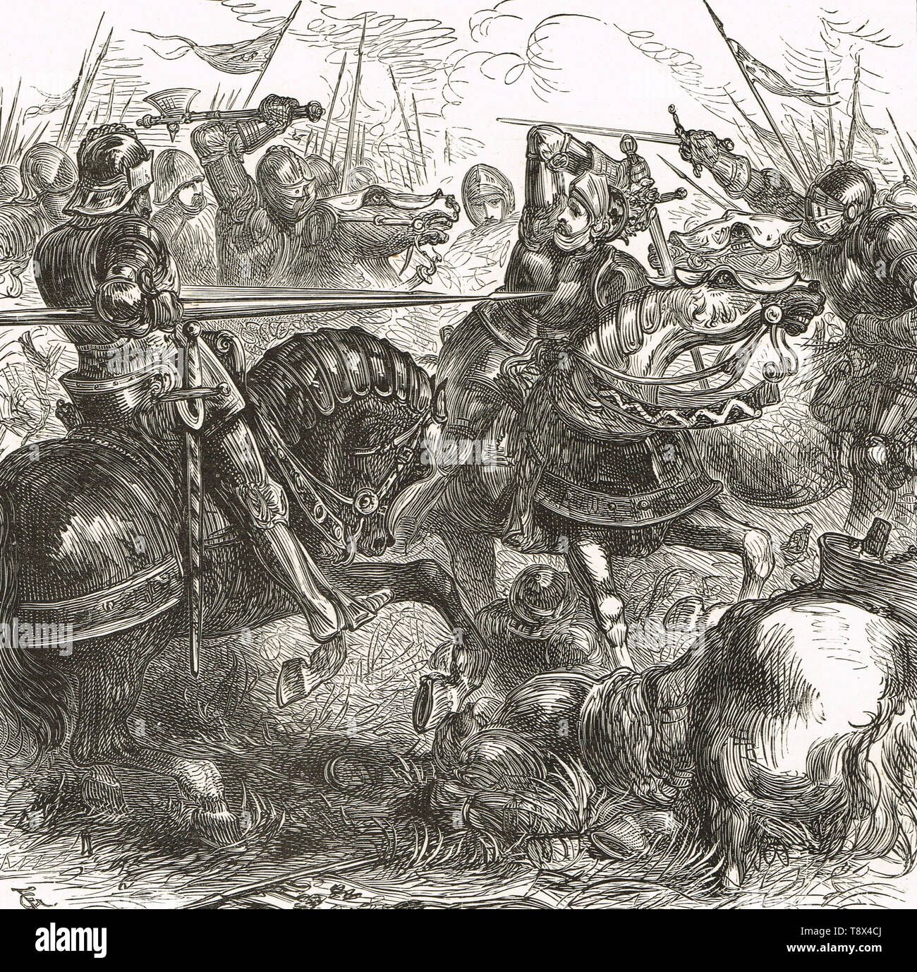 Richard III fighting at the Battle of Bosworth Field, 22 August 1485 - Stock Image