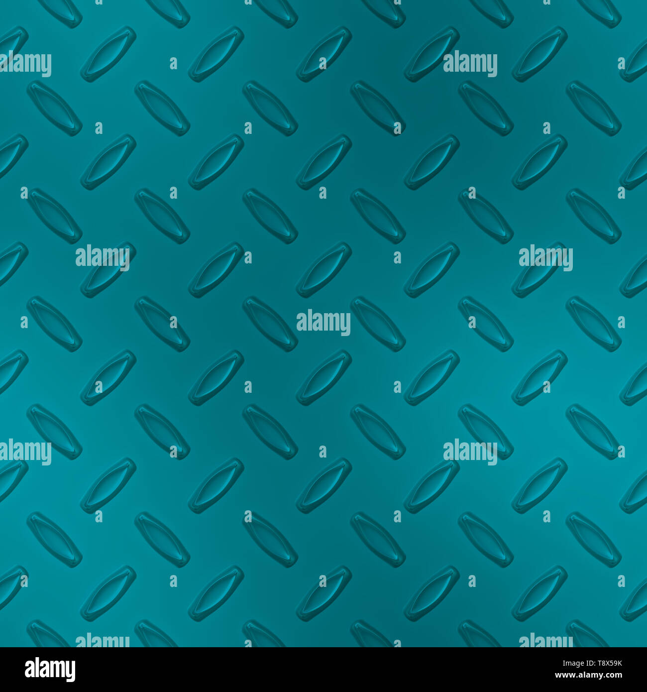 Teal Blue Diamond Plate Metal Seamless Texture Tile - Stock Image