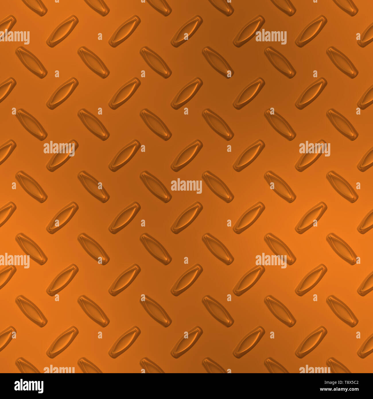 Orange Diamond Plate Metal Seamless Texture Tile - Stock Image
