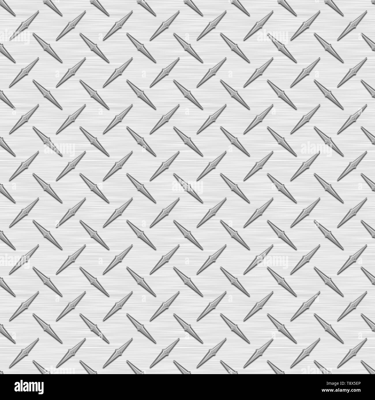 Silver Diamond Plate Metal Seamless Texture Tile - Stock Image
