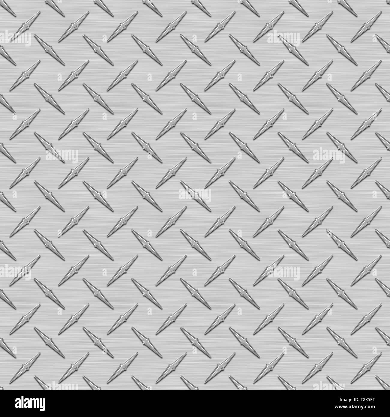 Gray Diamond Plate Metal Seamless Texture Tile - Stock Image