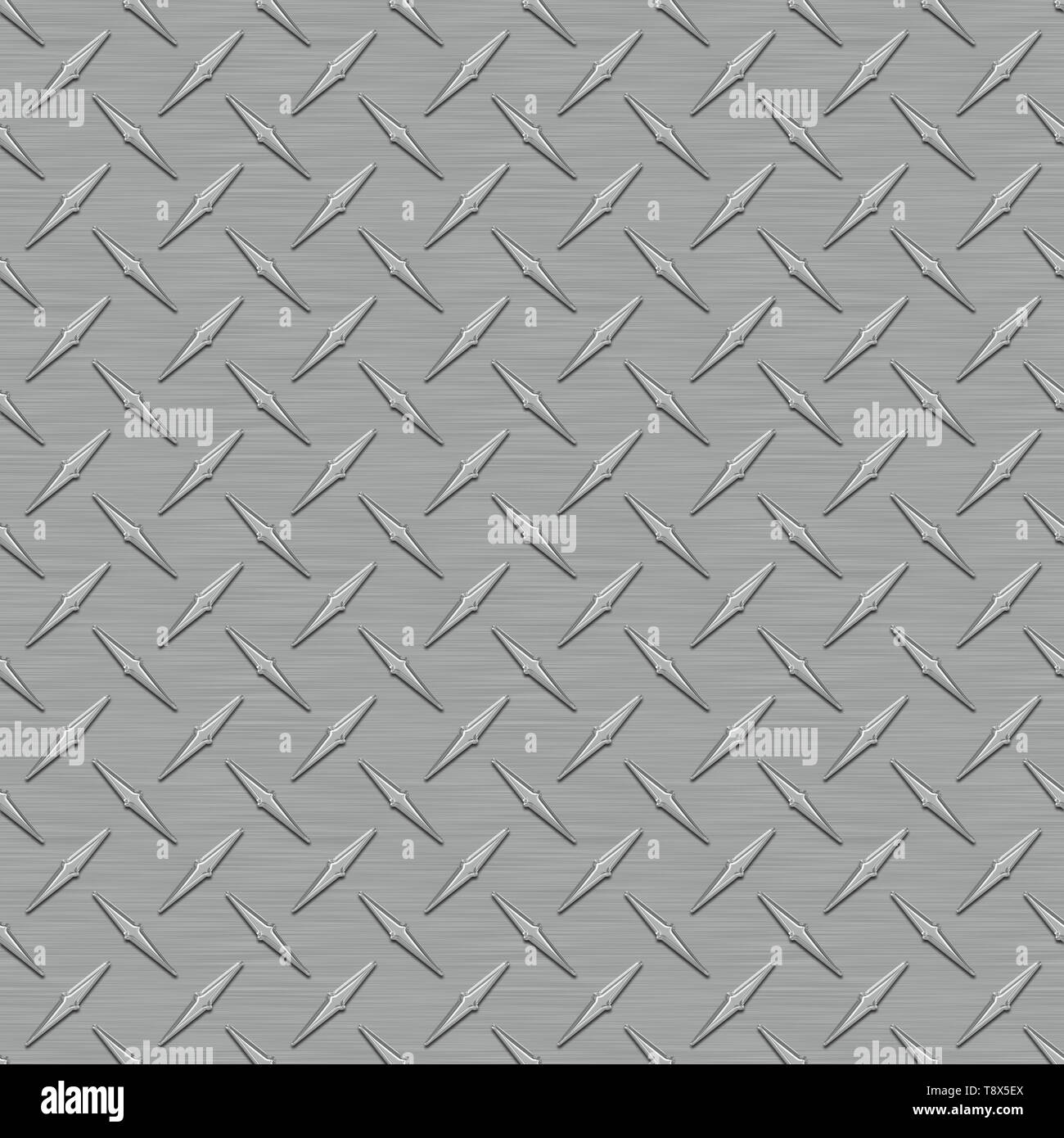 Dark Gray Diamond Plate Metal Seamless Texture Tile - Stock Image