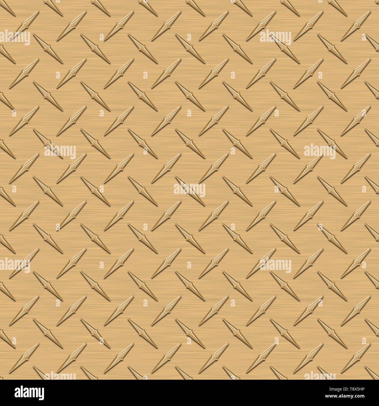 Gold Diamond Plate Metal Seamless Texture Tile - Stock Image