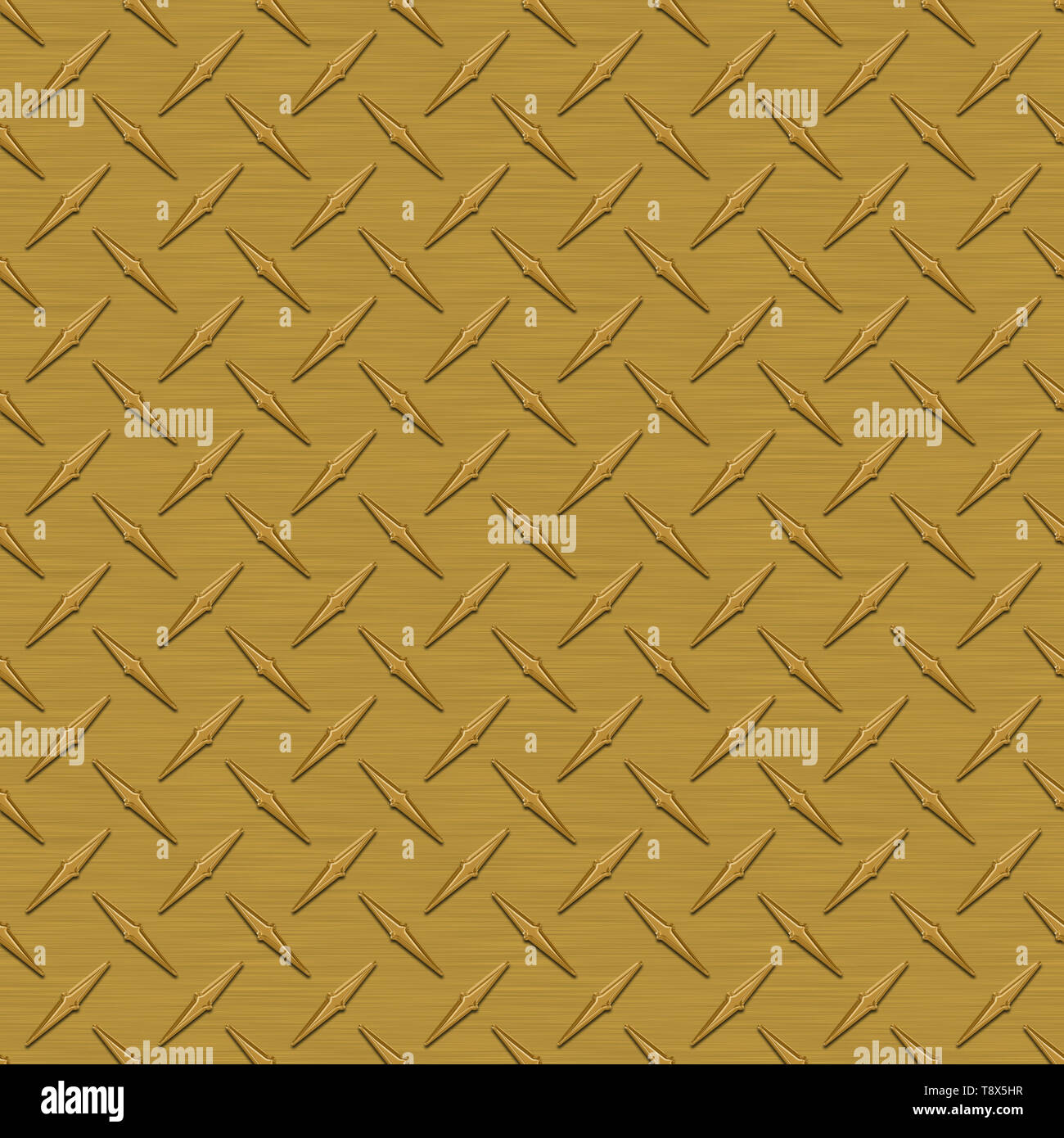 Dark Gold Diamond Plate Metal Seamless Texture Tile - Stock Image