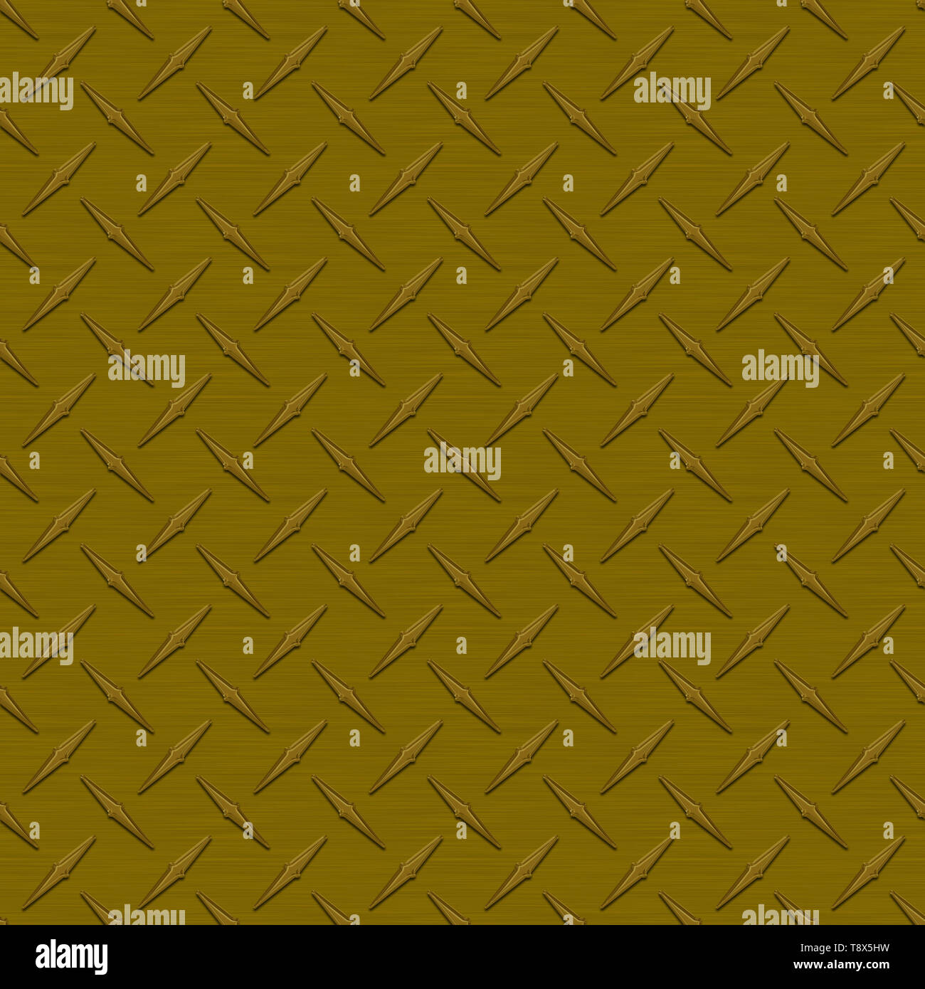 Bronze Diamond Plate Metal Seamless Texture Tile - Stock Image