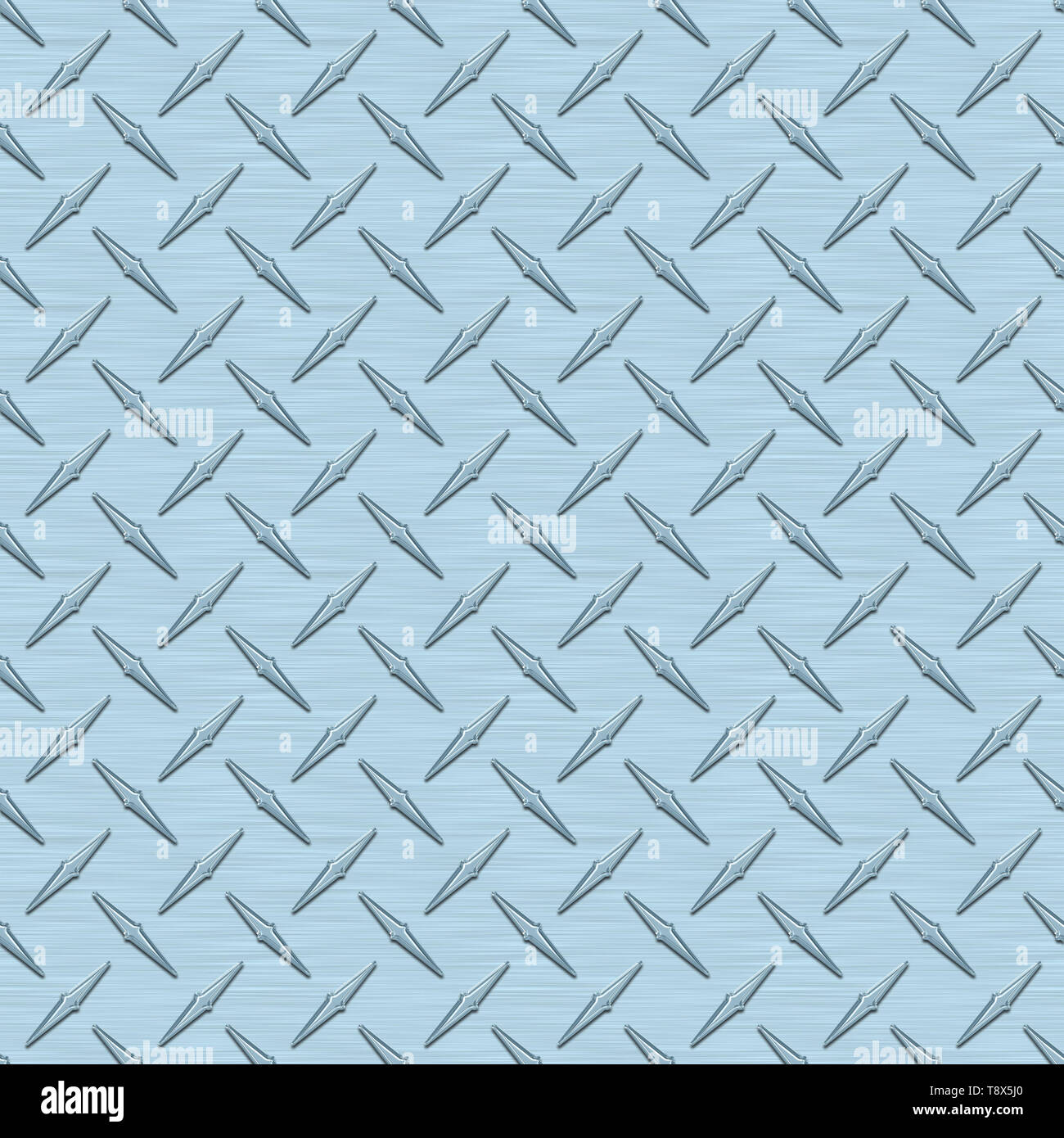 Ice Blue Diamond Plate Metal Seamless Texture Tile - Stock Image