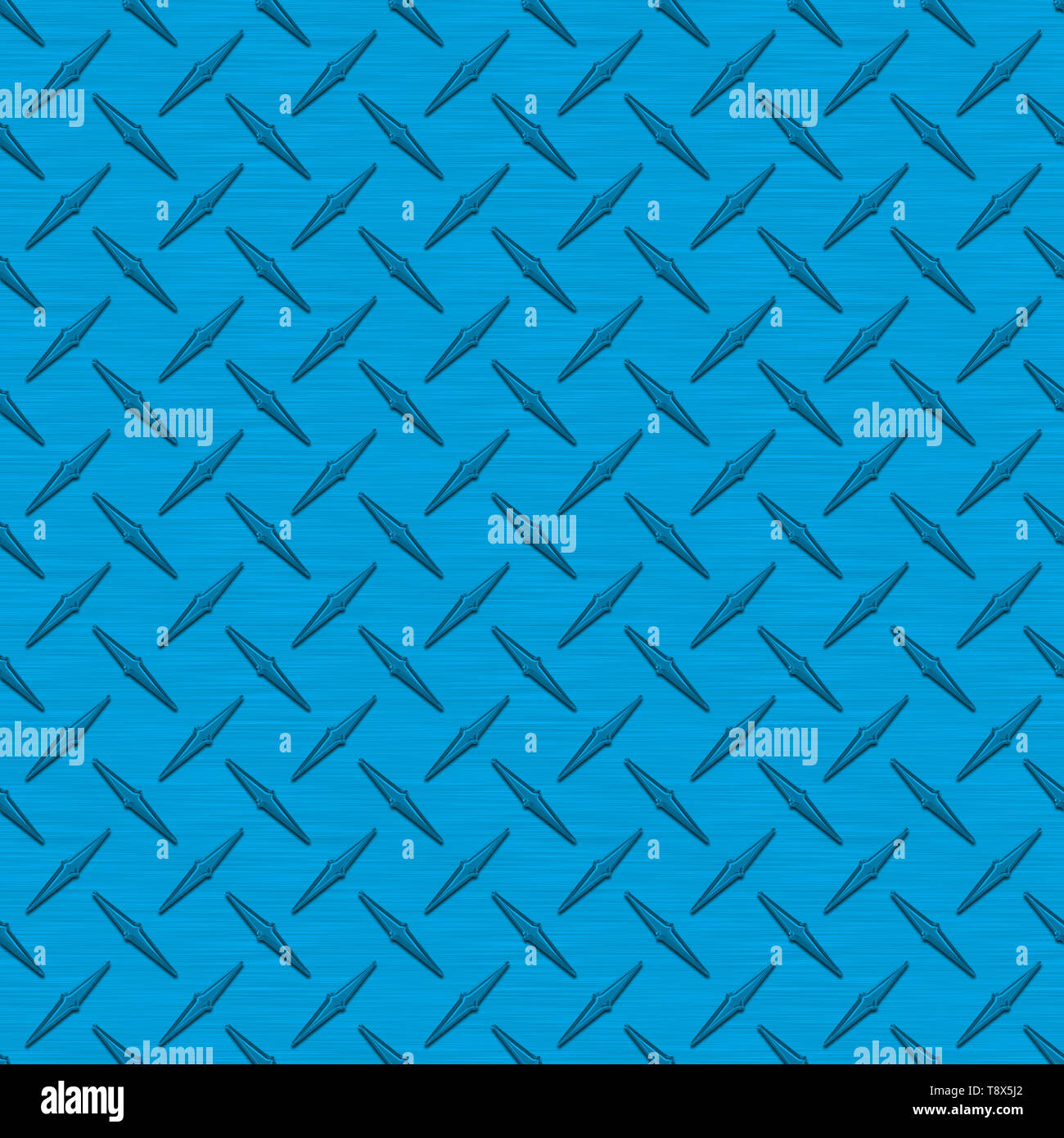 Bright Blue Diamond Plate Metal Seamless Texture Tile - Stock Image