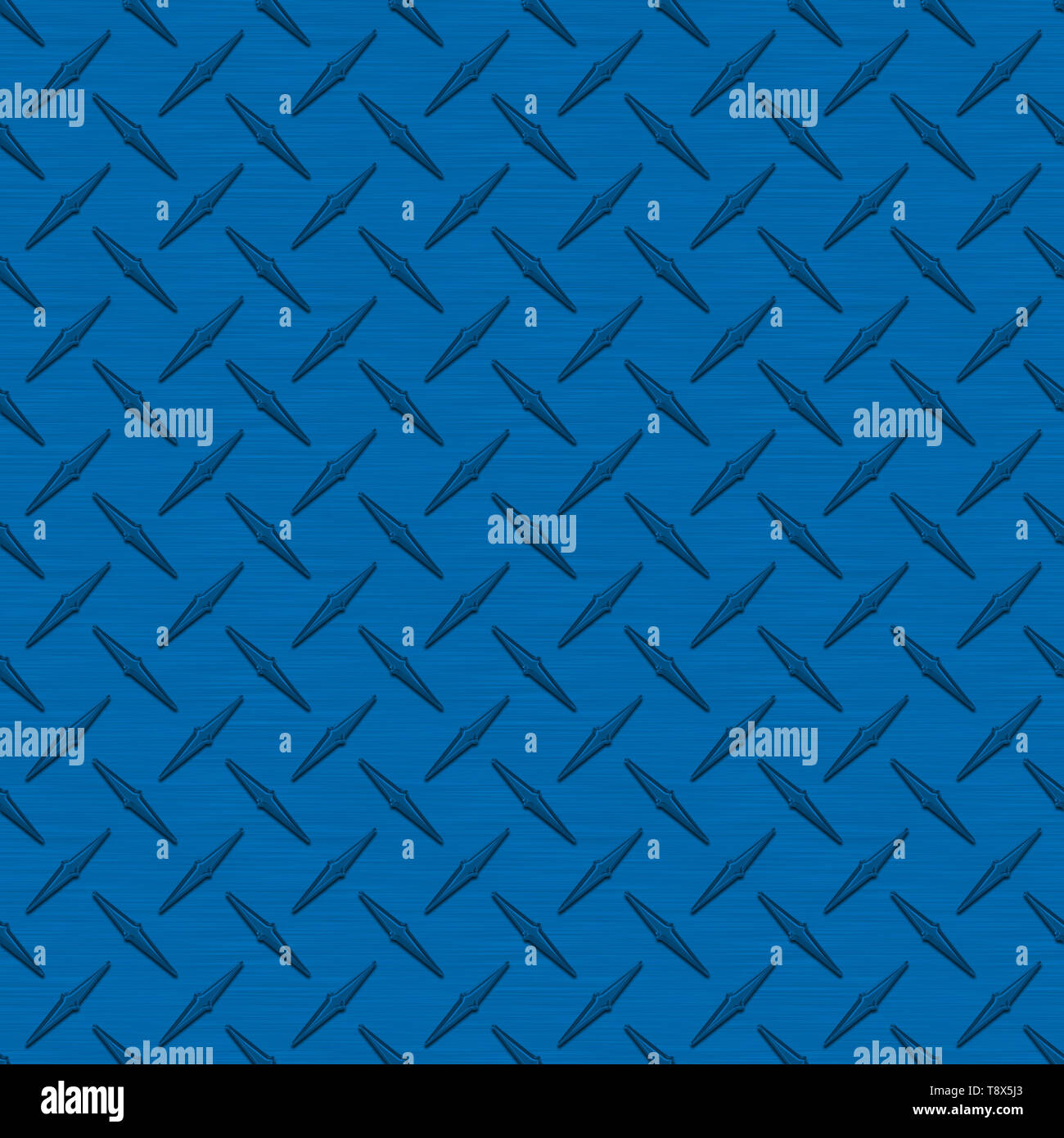 Medium Blue Diamond Plate Metal Seamless Texture Tile - Stock Image