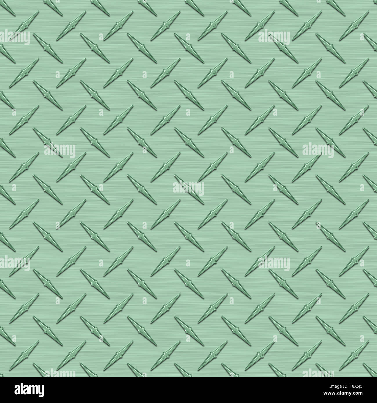 Mint Green Diamond Plate Metal Seamless Texture Tile - Stock Image
