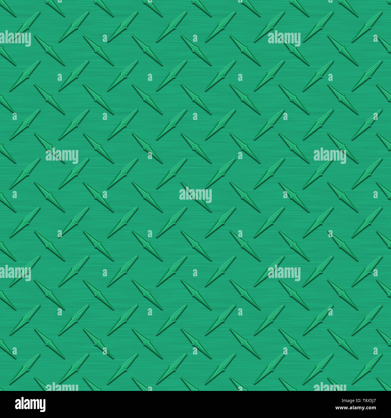 Medium Green Diamond Plate Metal Seamless Texture Tile - Stock Image