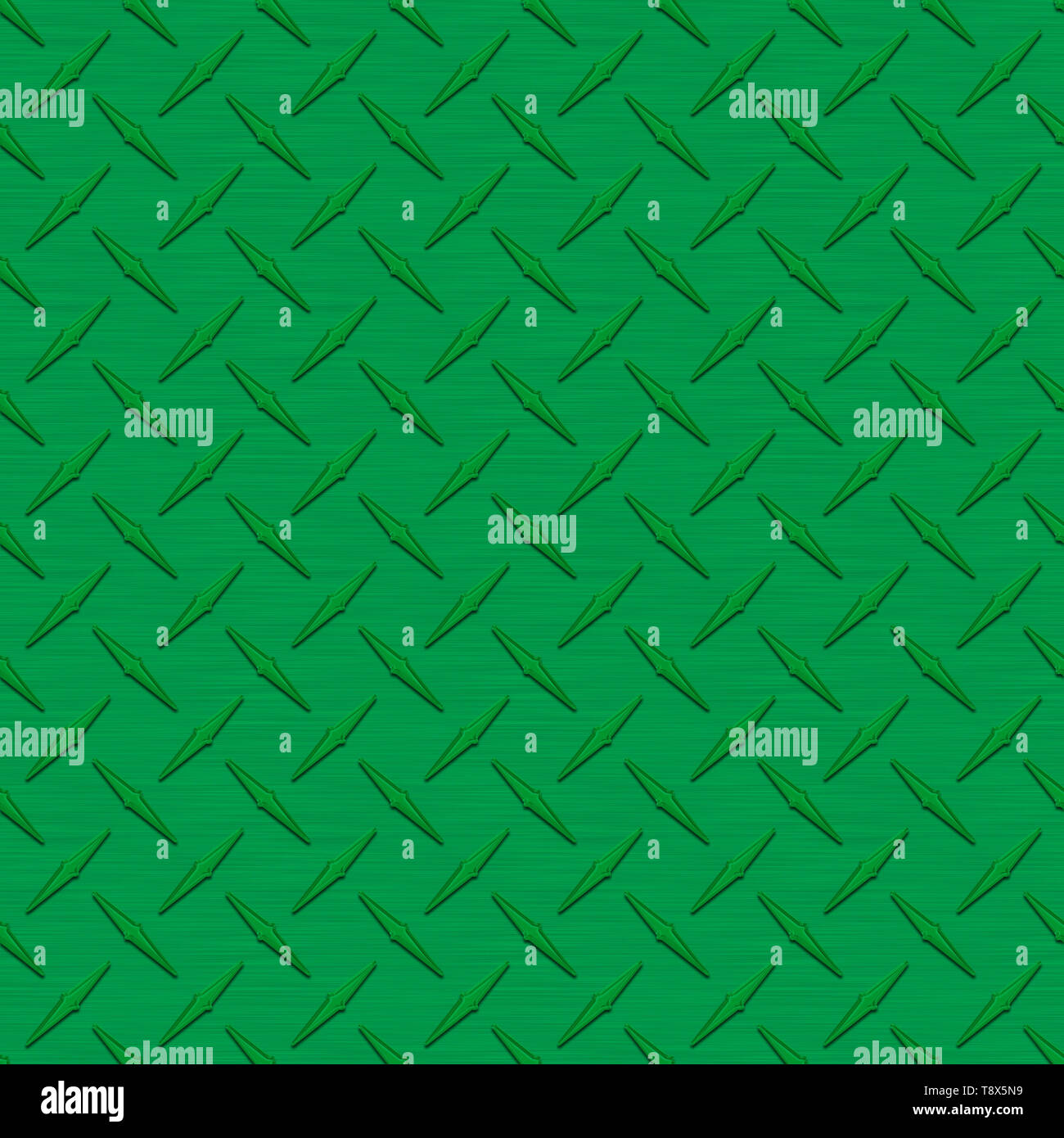 Dark Green Diamond Plate Metal Seamless Texture Tile - Stock Image