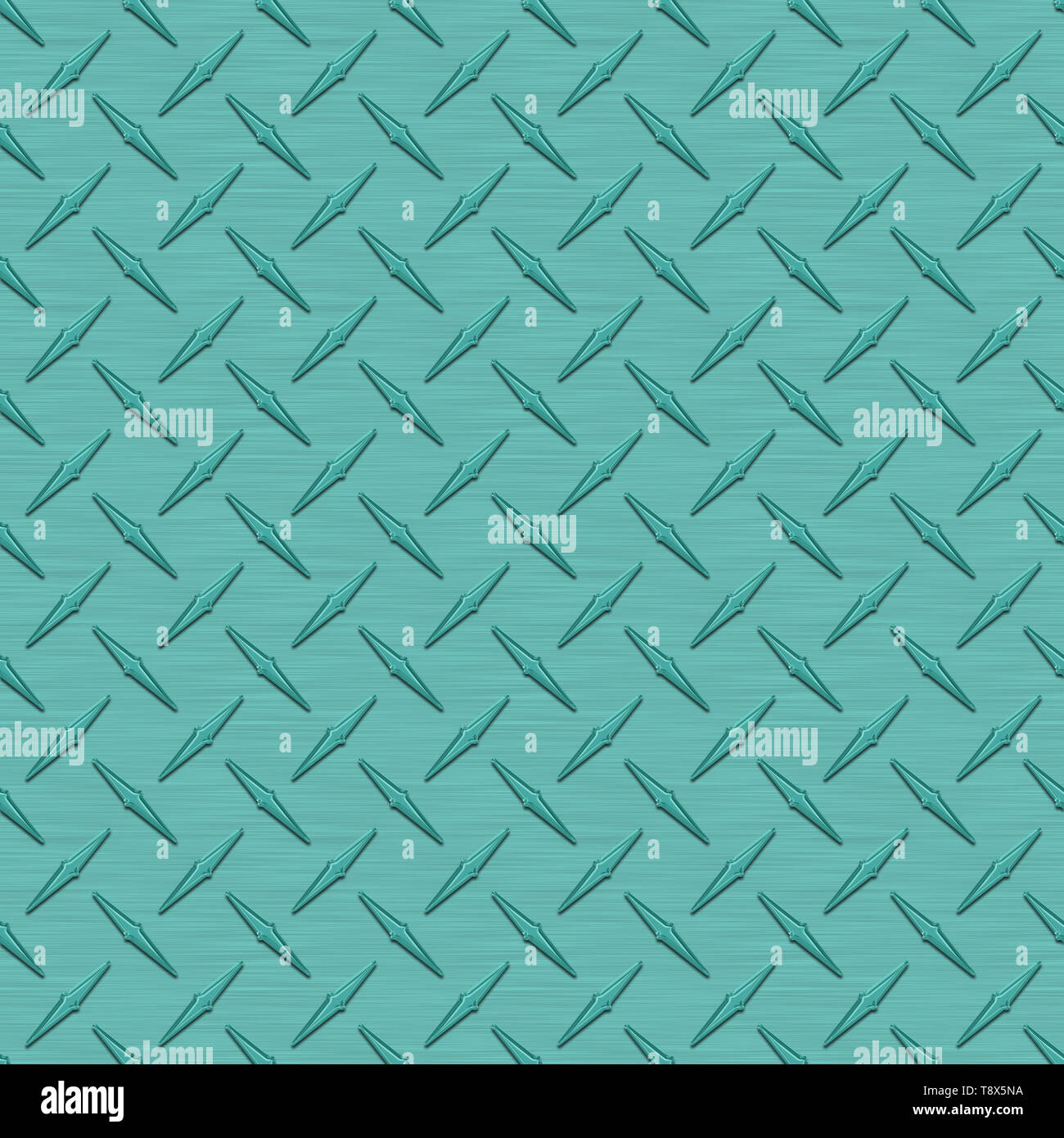 Aqua Diamond Plate Metal Seamless Texture Tile - Stock Image