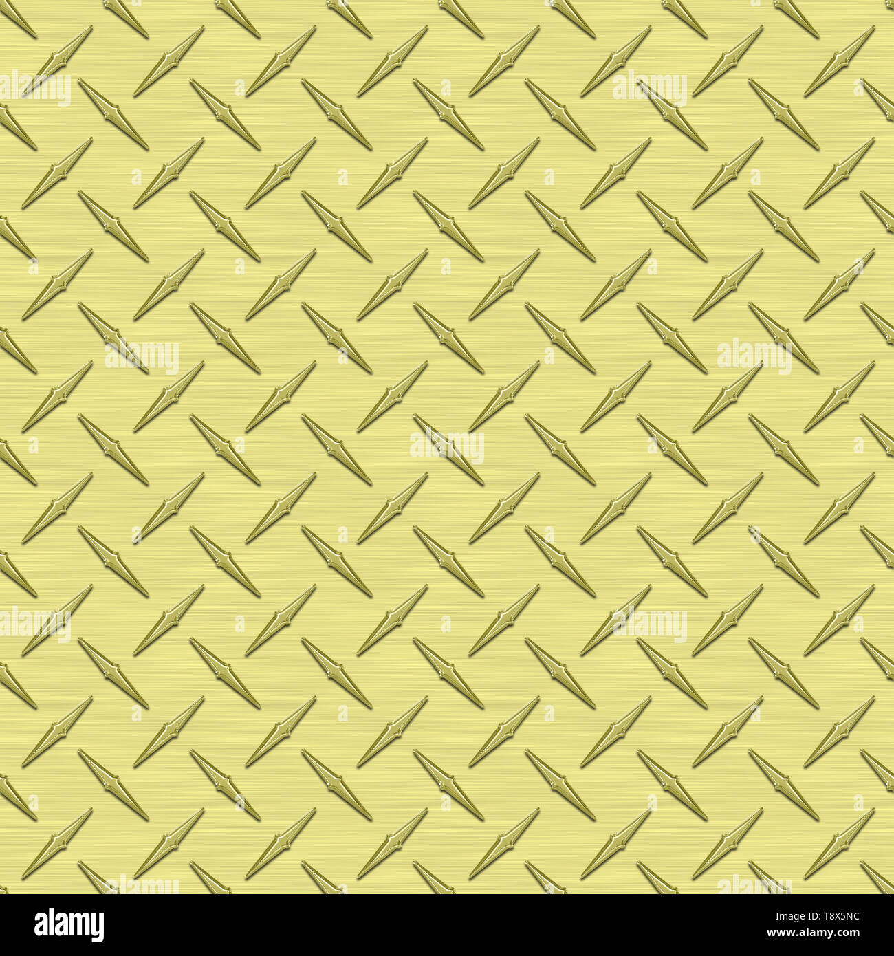 Pale Yellow Diamond Plate Metal Seamless Texture Tile - Stock Image