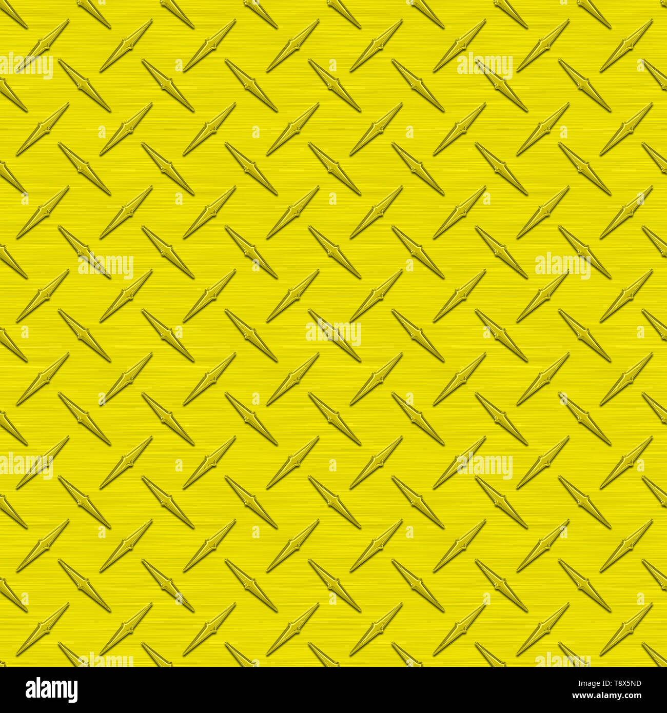 Yellow Diamond Plate Metal Seamless Texture Tile - Stock Image