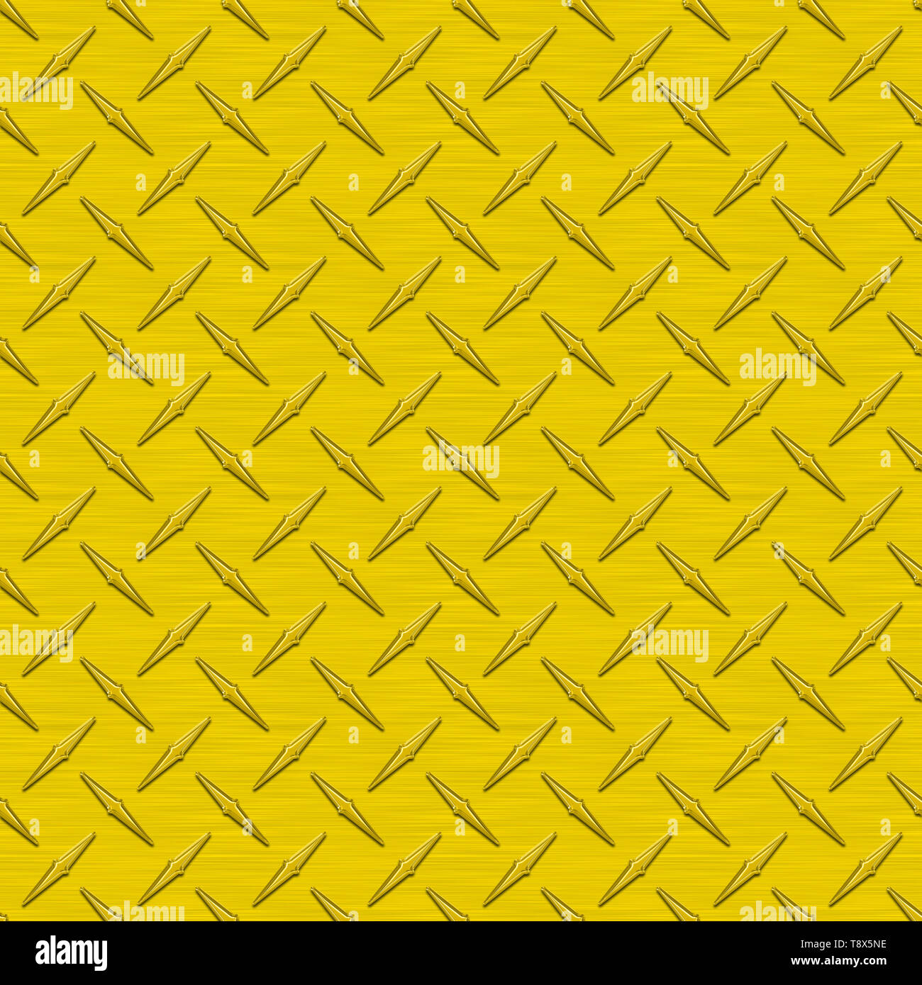 Sunflower Yellow Diamond Plate Metal Seamless Texture Tile - Stock Image