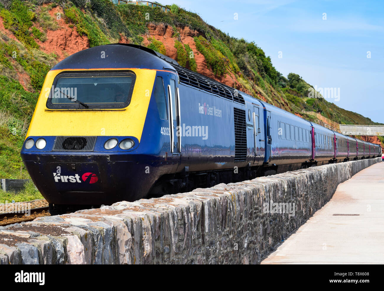 Class 43 GWR HST approaching Dawlish station in Devon. - Stock Image