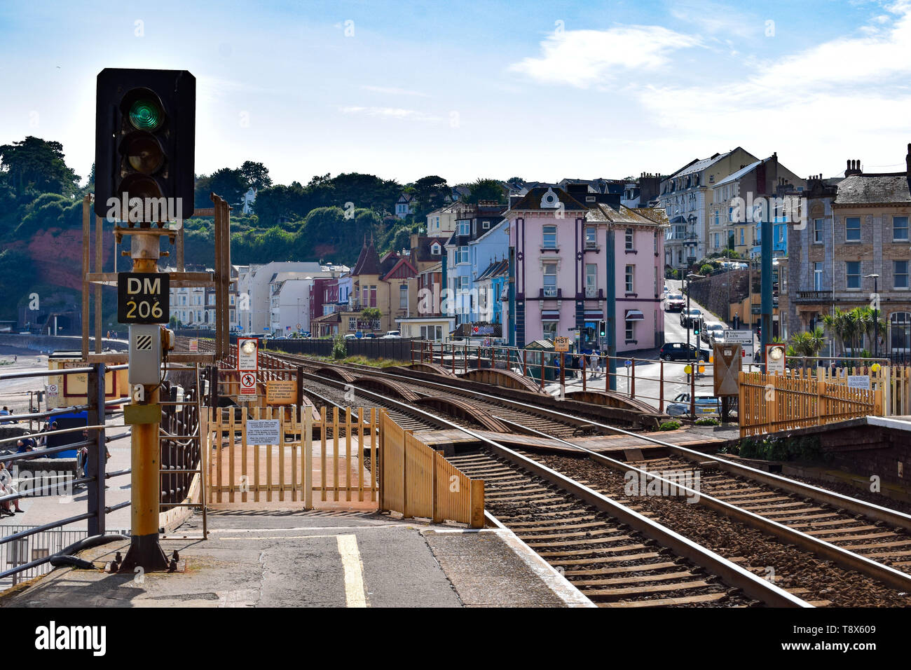 Looking west at Dawlish train station. - Stock Image