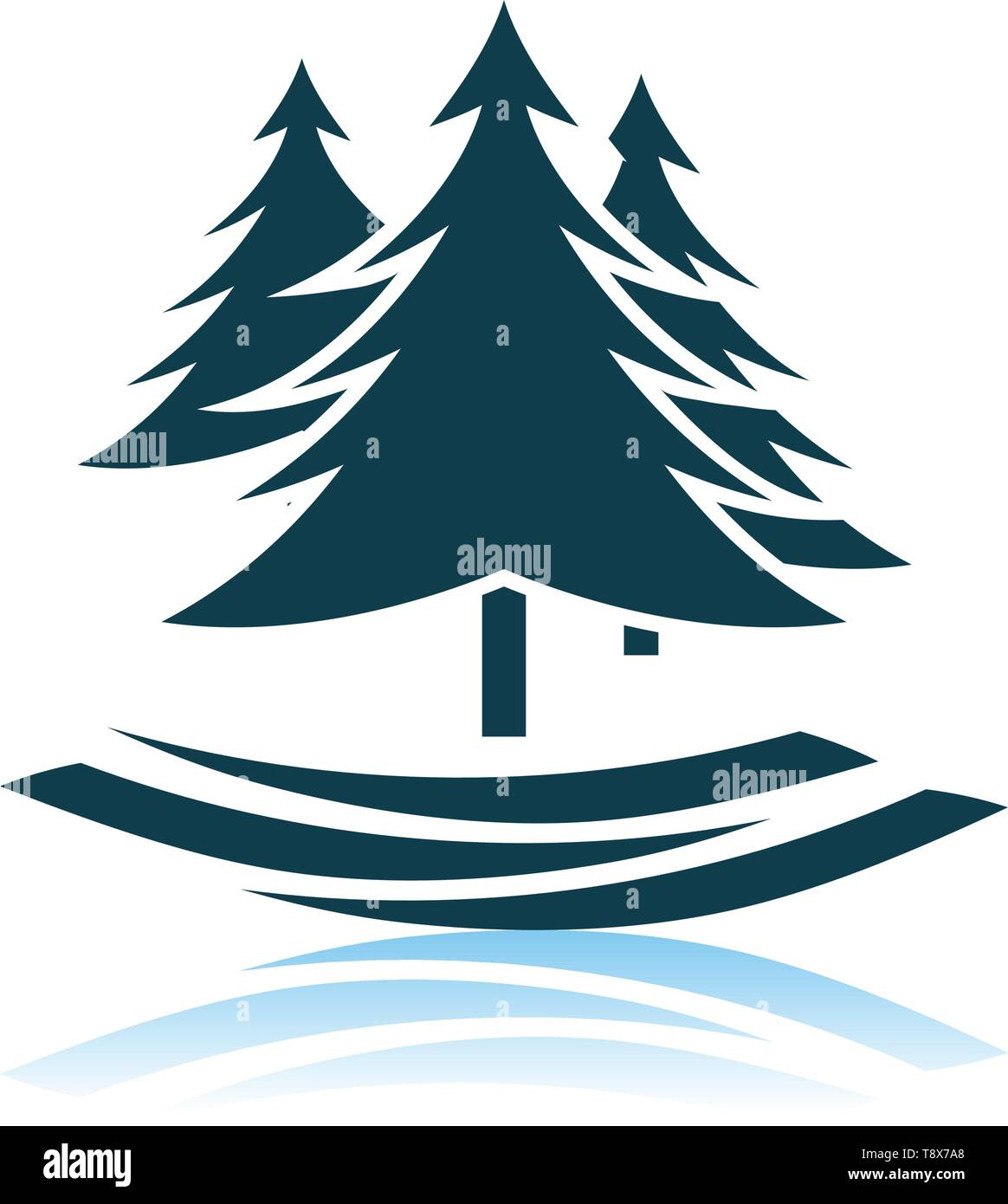 Fir Forest Icon. Shadow Reflection Design. Vector Illustration. - Stock Image