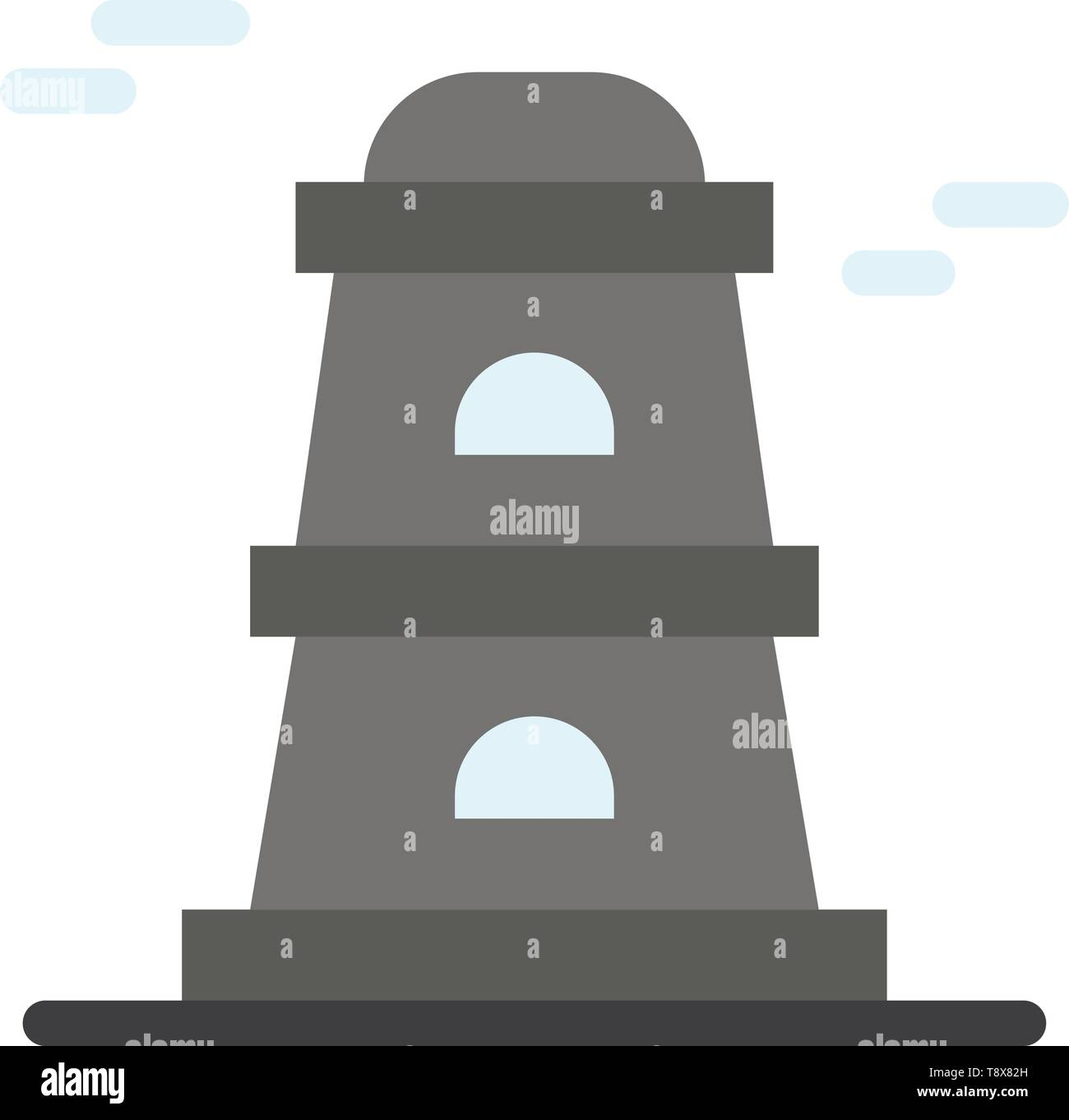 Observatory, Tower, Watchtower  Flat Color Icon. Vector icon banner Template - Stock Vector